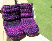 Grape Punch Hand Spun/Hand Dyed/Knit Sheepskin Soled Booties 6-12 Months