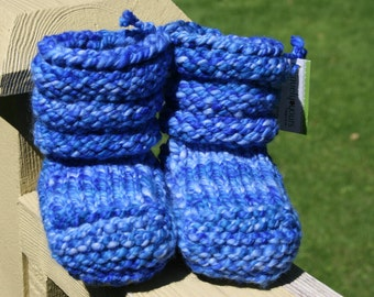 Baby Blues Hand Spun/Hand Dyed/Knit Sheepskin Soled Booties 0-6 Months
