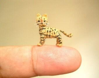 Micro Miniature Bengal Cat - Tiny Crochet Miniature Cat Amigurumi - Made to Order
