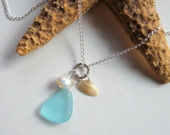 Beach Trio - Turquoise Sea Glass, Tiny Seashell, and Freshwater Pearl Necklace - Summer necklace, ocean, shell, beach glass, natural, ooak