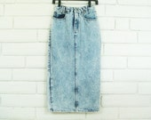 80's LONG DENIM SKIRT vintage acid wash pencil button back xs x small high waisted jean skirt