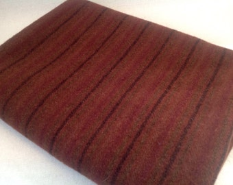 Wool Fabric for Rug Hooking and Applique, Fat Quarter Yard, Russet Stripe, J955