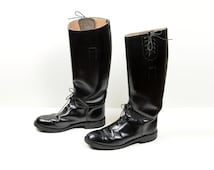 vintage 60s boots Bates Floataways police motorcycle riding boots laced moto boot 1960 1960s vintage boots mens size 8E 8 wide