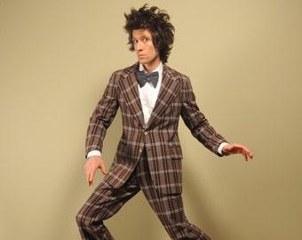 mens vintage suit 70s plaid flannel suit 1970 Oleg Cassini Signature cuff pant wide lapel 1970s vintage menswear 38-40
