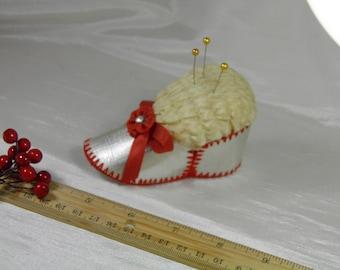 Homemade Vintage Pin Cushion Baby Shoe