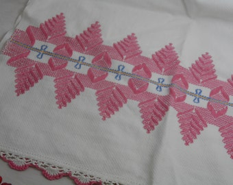 "17x30"" Handmade Vintage Kitchen Large Hand Tea Towel - Pink Blue White Gold - Embroidery - Embroidered - Tatted Edges - 17 by 30 Inches"