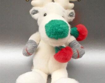 Vintage Snobell White Reindeer Green Nose Applause Stuff Toy Animal Moose Antlers Plushie Christmas Bells Holiday Kawaii Children Boy Girl