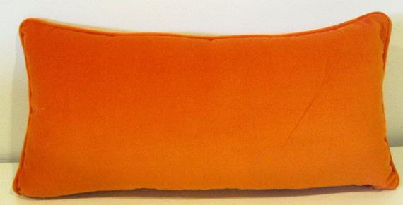 Orange Velvet Lumbar Pillow Cover 12 X 24