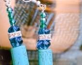 Turquoise ,Swarvorski Crystals Earrings