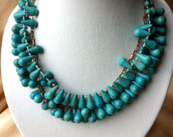 Drops of turquoise howlite necklace & earrings set - ADJUSTABLE, aged bronze metal chain
