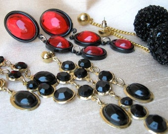 Trio of 80s and 90s pendant earrings - black, cherry red, gold, disco, evening, fun, long
