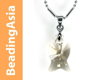 Swarovski Element - Silver Shade Fish Pendant Necklace with Gift Box  (950-116)