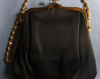 Vintage Purse Black signed Ande Evening Opera Prom Wedding Gift for Her Mid-Century Mad Men