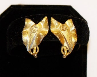 Earrings Leaves signed BSK Gold Plated French Clip On Vintage Jewelry Jewellery Accessories Gift Guide Women