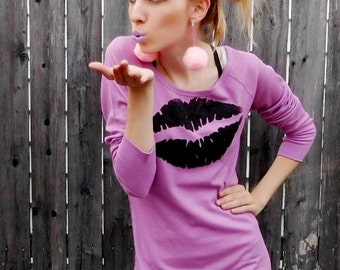 Last One // On Sale: Pastel Purple KISS OF DEATH Long Sleeve Thermal Top -- Size Small // Medium