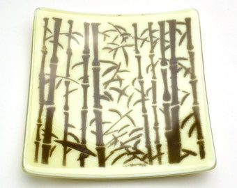 Fused Glass Plate Bamboo Powder Printed French Vanilla