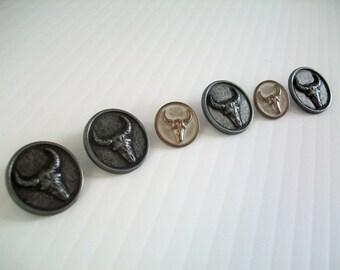 6 Texas longhorn buttons | novelty longhorn buttons | sewing buttons | Texas novelty buttons | metal buttons | longhorn bull buttons |