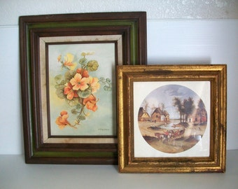 2 vintage art work scenes in frame | shabby chic decor | country farmhouse decor | vintage wall hanging | vintage frames rustic wall decor