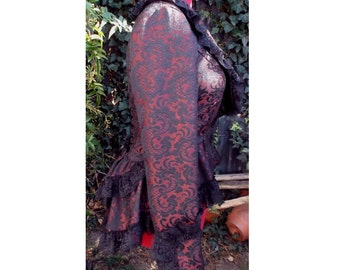 steampunk jacket with bustle in red and black jacquard with black lace & corset lacing UK seller
