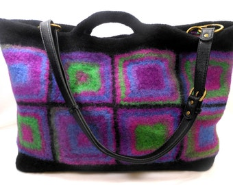 Felted Wool Granny Square Tote Cross Body Bag