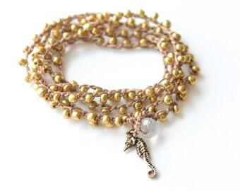 Gold Seahorse Crochet Wrap Bracelet Seahorse Beach Bracelet Friendship Bracelet Beaded Crochet Necklace Crochet Bracelet Boho Mermaid Gift