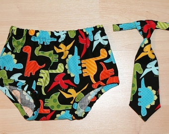 Urban Zoologie Dinosaur Baby Boy Diaper Cover and Tie (2pc)