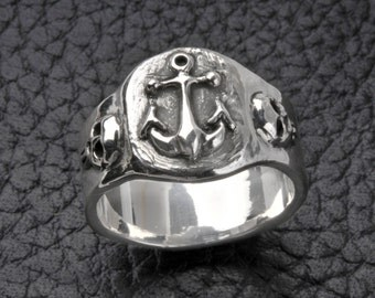 Anchor Ring in solid sterling silver, Nautical Ring,Pirate Ring,Mens,Womens,wedding ring,engagement ring