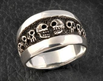 skull ring diamond skull wedding ring mens or womens custom 925 solid sterling silver skull ring medium size - Mens Skull Wedding Rings