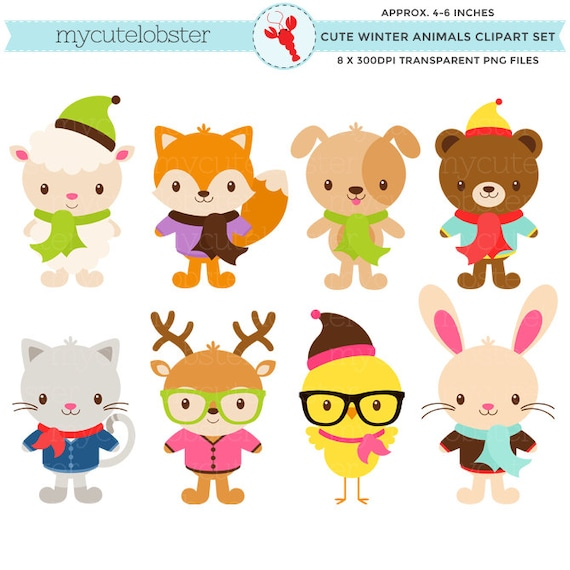 Cute Winter Animals Clipart Set hipster by ...