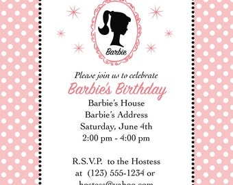 Barbie Party Invitation - Set of 10 Invitations