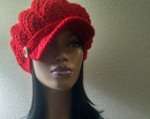 MADE TO ORDER Red Beanie/ Newsboy Hat with brim/strap/ wooden button/ free matching crochet earrings (not pictured)