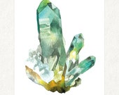"Fuschite Cluster 1 -  5"" x 7"" Watercolor Art Print #0009"