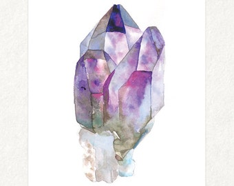 "Amethyst 2 -  5"" x 7"" Watercolor Art Print 0002"