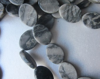 Black and Grey Oval Marble Beads 20x15mm 8 Beads