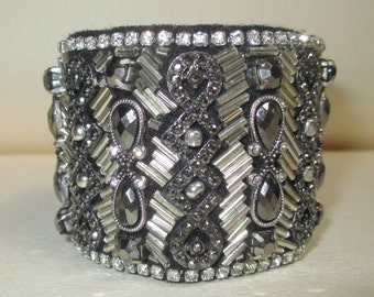 Cuff Bracelet Fabulous Gray Silver Heavily Beaded Detailed Fabric