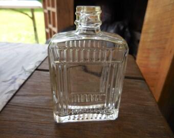 "Vintage 1940s Men's Aftershave Lotion Bottle Glass Fitch ""Skin-Pep"" Art Deco Embossed Bathroom Decor"