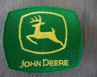 John Deere Sew on/Iron on Patch Small Green and Yellow Sewing Collectible Supply Tractors Applique  NOS