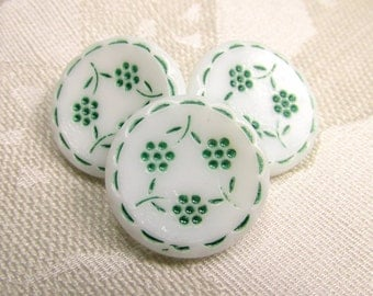 "A Circle of Flowers: 3/4"" (19mm) Molded Glass Buttons with Green Posies - Vintage Set of 3 Matching Buttons - New Old Stock"
