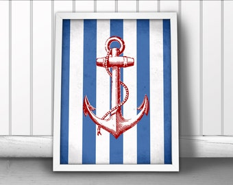 Nautical Anchor Art Print, Navy Stripes Nautical Art Print, Ship Anchor Art Print, Nautical Ocean Sea Art Print, Nautical Art Anchor Poster