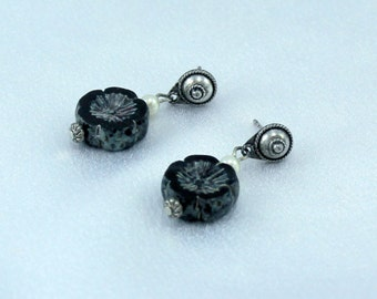 Czech Glass Picasso Earrings on Balanese Style Sterling Silver Posts.  Made in USA.  Different.