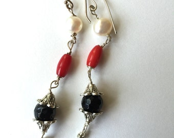White, Red, Black,  White Pearl, Coral, Black Onyx, Lilyb444, Silver Earrings, Jewelry