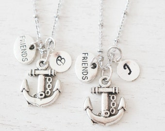 silver anchor necklace, best friend, personalized jewelry, bridesmaid gift, nautical, matching jewelry, friendship, graduation, christmas