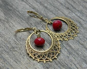 Bohemian earrings beaded dangle earrings gypsy jewelry hoop earrings