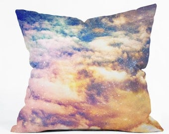 Starry Night Sky Home Decor. Decorative Throw Pillow. Dorm Decor. Space Galaxy. Cosmic. Surreal. Clouds. Starry Home Pink Purple Orange Blue