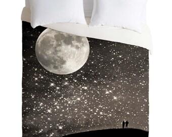 Stars and Moon Duvet Cover. Bedding.  Bedroom Decor. Starry Night Sky. Love. Stars. Moon. Night art. Black and White. Silver. Dreamy. Dorm