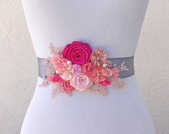 Begonia Fuchsia Pink Blush Satin Roses Sash with Swarovski Sew on Crystal  Pearls and Lace for a Bride, Bridesmaid, Special Event