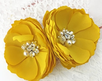 Bright Yellow Flowers - Hair Clip, Shoe Clips, Brooch with Swarovski Pearls & Crystals For Brides, Bridesmaids, For Event, Photo Prop - Kia