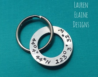 Custom Hand Stamped Latitude Longitude Washer Keychain- Add Your own Coordinates- In Copper, Aluminum, or Brass