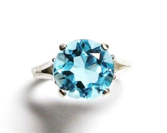 "Topaz, sky blue topaz, blue topaz ring, solitaire ring, blue, engagement ring, s 6 3/4  ""Astoria"""