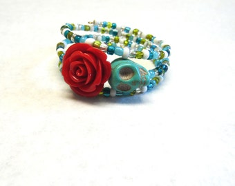 Day of The Dead Bracelet Sugar Skull Turquoise Blue Red Rose